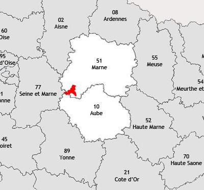 Localisation de la région viticole de la Côte de sézanne
