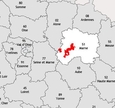 Localisation de la région viticole de la Côte des blancs