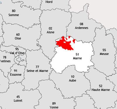 Localisation de la région viticole de la Montagne de reims