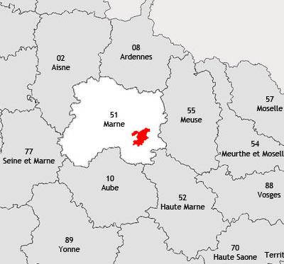 Localisation de la région viticole de Vitry-le-françois
