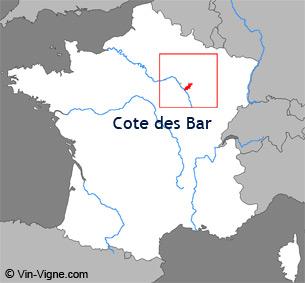 Carte de la région viticole de la Côte des bar