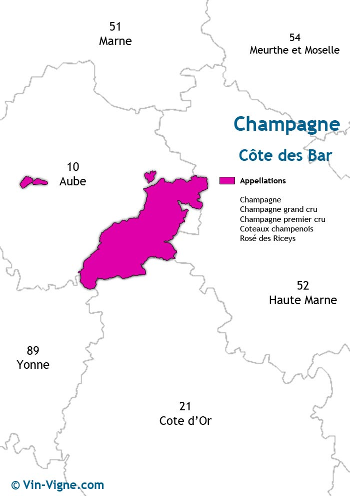 carte des vins de la côte des bar