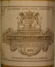 Bouteille Château Filhot 1970