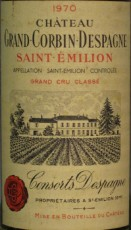 Etiquette du Château Grand Corbin-Despagne 1970