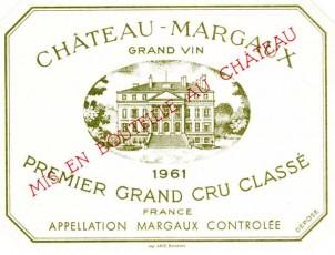 Étiquette du Château Margaux 1961