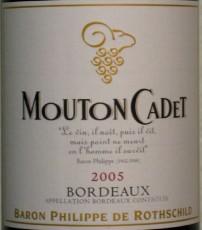 Château Mouton Cadet 2005 label showing PdR poem