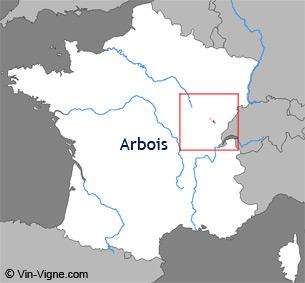 Carte de la région viticole d'Arbois