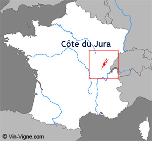 Carte de la rgion viticole des Cte du jura