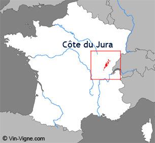 Carte de la région viticole des Côte du jura