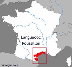 Carte du vignoble du Languedoc-roussillon