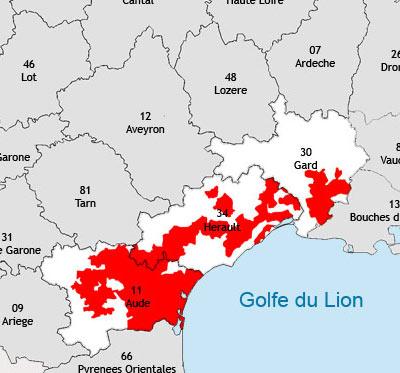 Localisation de la région viticole du Languedoc