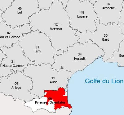 Localisation de la région viticole du Roussillon