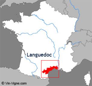 Carte de la région viticole du Languedoc