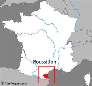 Carte de la rgion viticole du Roussillon