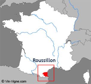 Carte de la région viticole du Roussillon