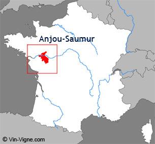 Carte de la région viticole d'Anjou-saumur