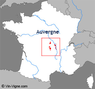 Carte de la rgion viticole d'Auvergne
