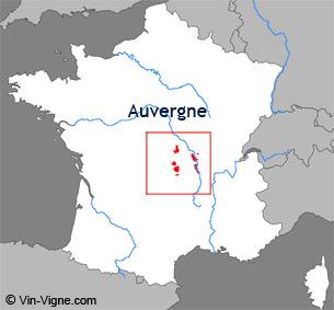Carte de la région viticole d'Auvergne
