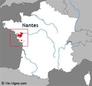 Carte de la région viticole de Nantes