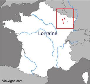 Carte du vignoble de la Lorraine