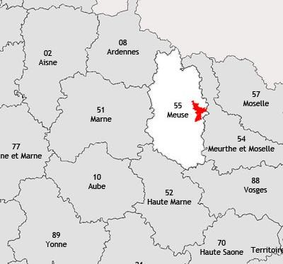 Localisation de la région viticole de la Meuse