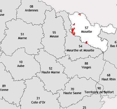 Localisation de la région viticole de Moselle