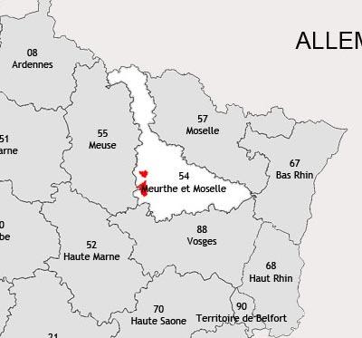 Localisation de la région viticole de Toul
