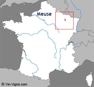 Carte de la région viticole de la Meuse