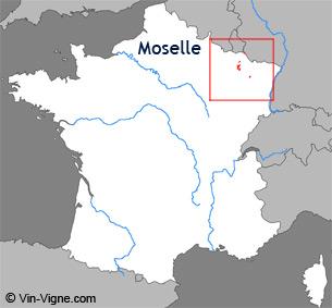 Carte de la région viticole de Moselle