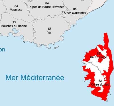 Localisation de la région viticole de Corse
