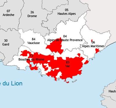 Localisation de la région viticole de Provence
