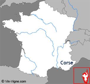 Carte de la région viticole de Corse