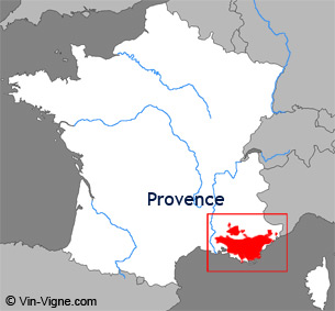 Carte de la région viticole de Provence