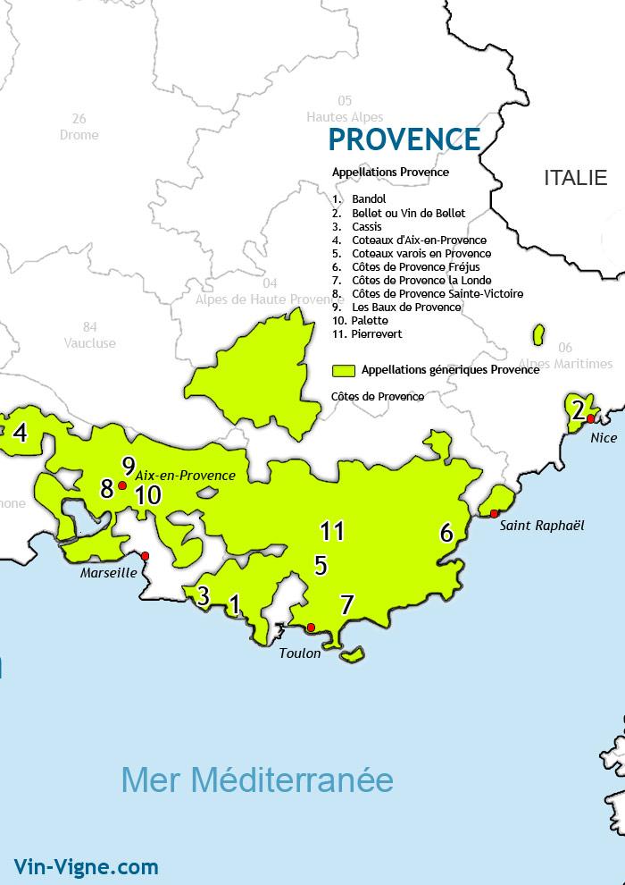 carte des vins de provence