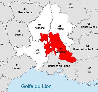 Localisation de la région viticole du Rhône-méridional