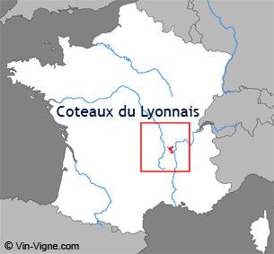 Carte de la région viticole des Côteaux du lyonnais