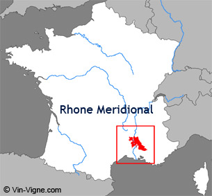 Carte de la région viticole du Rhône-méridional