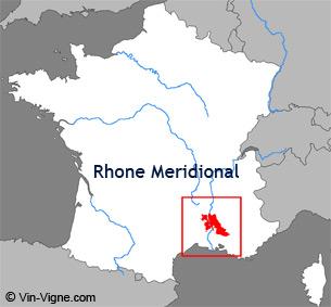 Carte de la région viticole du Rhône-méridional