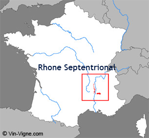 Carte de la rgion viticole du Rhne-septentrional