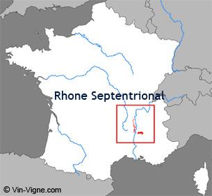 Carte de la région viticole du Rhône-septentrional