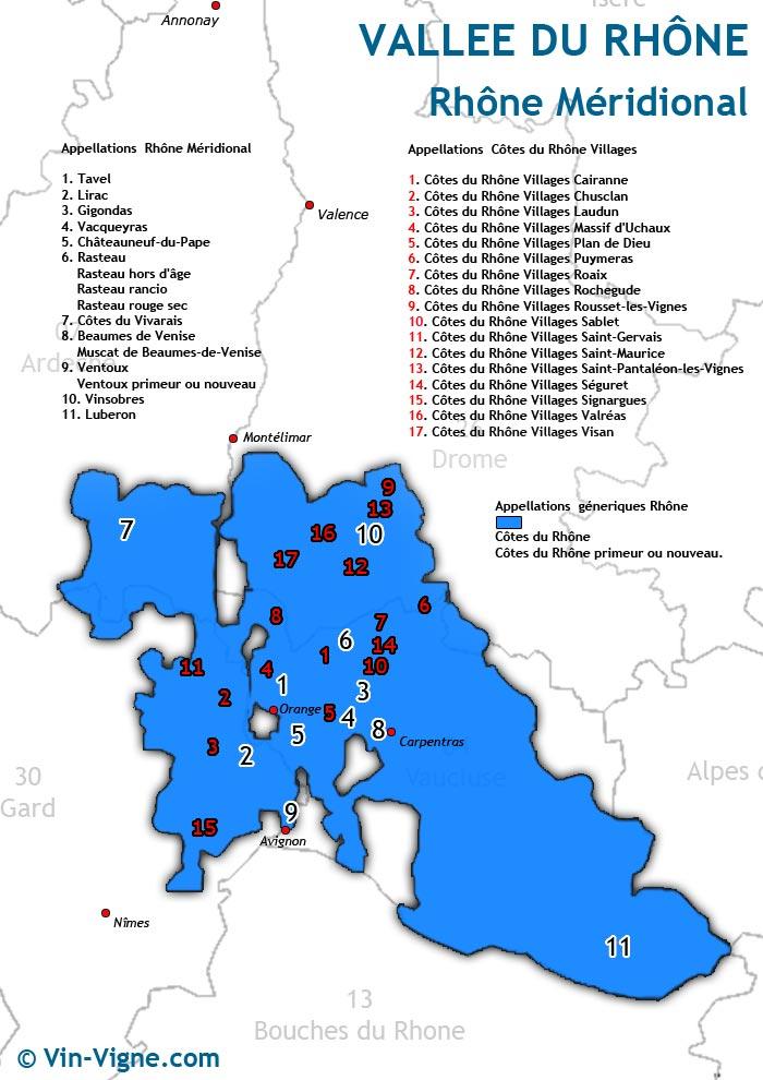 carte des vins du rhône-méridional