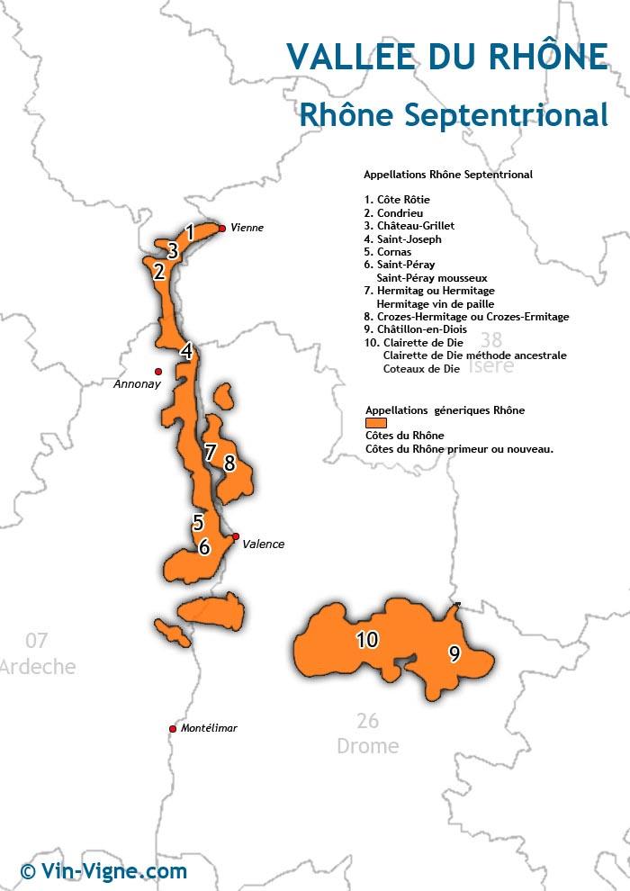carte des vins du rhône-septentrional