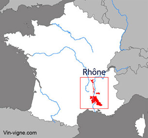 Carte viticole du vignoble du Rhône