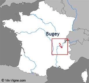 Carte de la rgion viticole du Bugey