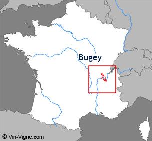 Carte de la région viticole du Bugey
