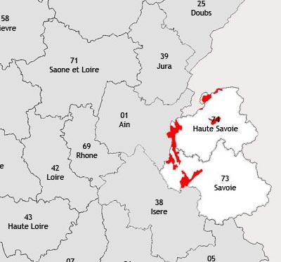 Localisation de la région viticole de Savoie