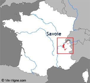 Carte de la région viticole de Savoie