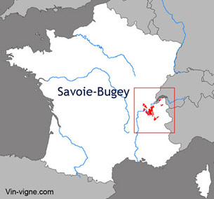 Carte du vignoble de Savoie bugey