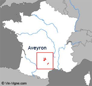Carte de la région viticole l'Aveyron