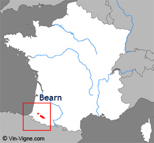 Carte de la région viticole du Bearn